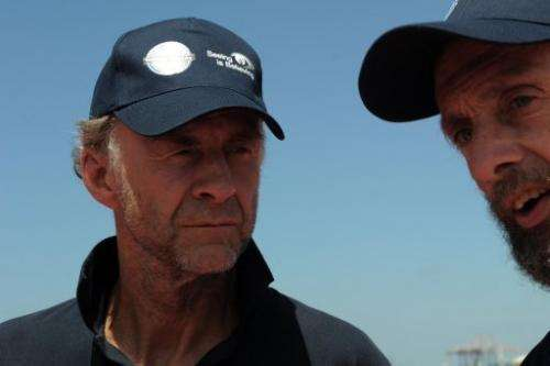 Explorers Ranulph Fiennes (left) and Anton Bowring talk to journalists on January 6, 2013 in Cape Town