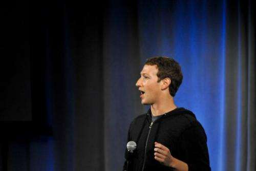 Facebook founder Mark Zuckerberg is pictured April 4, 2013