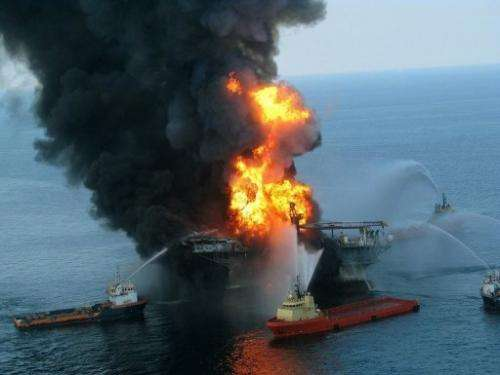 Fire boat response crews fight the blaze on the Deepwater Horizon oild rig in the Gulf of Mexico on April 21, 2010