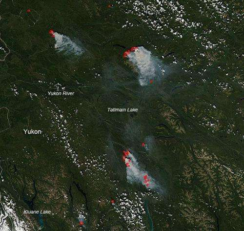 Fires in the Canadian Yukon province