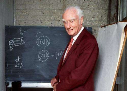 Francis Crick explains his work discovering the molecular structure on DNA in Paris on April 23, 1993