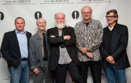 "(From L) William Sherak, Martin Ferrero, Phil Tippett, Dennis Muren and Rick Carter, the men behind ""Jurassic Park"""
