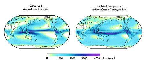 Global ocean currents explain why Northern Hemisphere is the soggier one