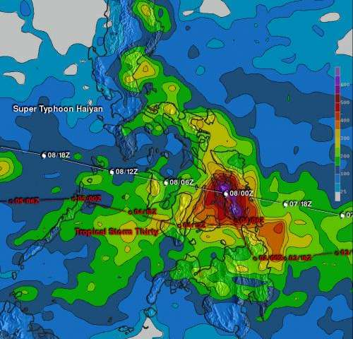 Haiyan and Tropical Storm 30W bring heavy rains to the Phillipines