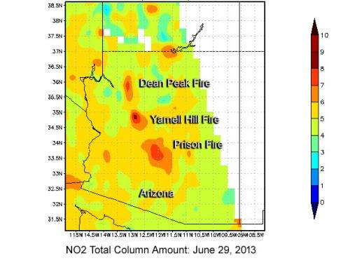 High nitrogen dioxide levels from Arizona's Yarnell Hill Fire