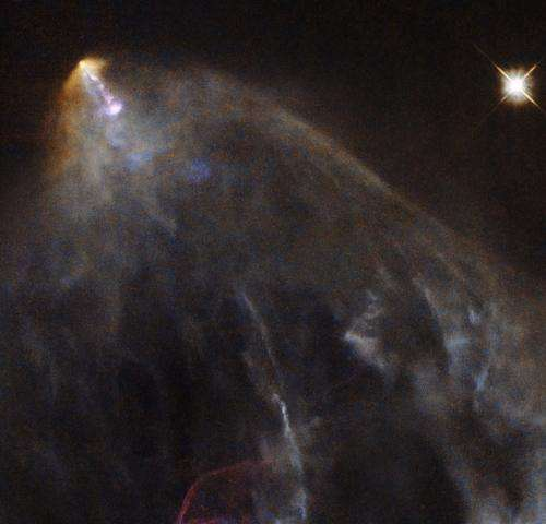 Hubble sees a glowing jet from a young star