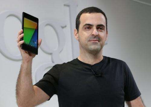 Hugo Barra holds up the new Asus Nexus 7 tablet on July 24, 2013 in San Francisco