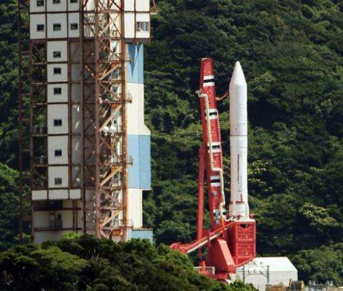 JAXA's Epsilon rocket stands on a launching pad at the Uchinoura Space Center in Kagoshima on August 27, 2013