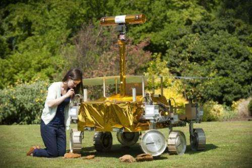 Jessica Housden adjusts the ExoMars project's rover 'Bridget' at Leicester University, England, on June 4, 2010