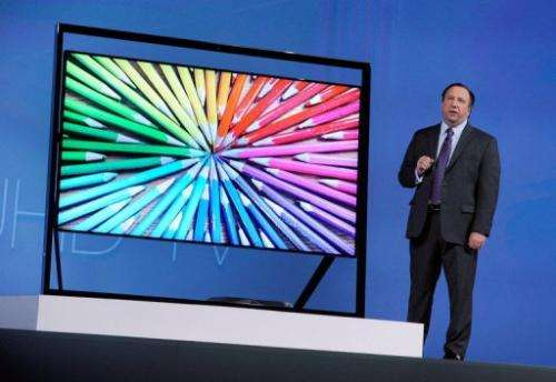 Joe Stinziano unveils Samsung's Ultra HDTV on January 7, 2012 in Las Vegas
