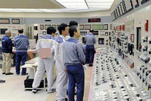 Kansai Electric Power engineers check readings at the Oi nuclear plant on July 19, 2012