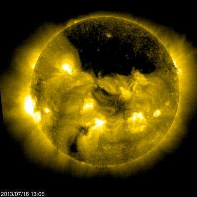 Large coronal hole near the sun's north pole