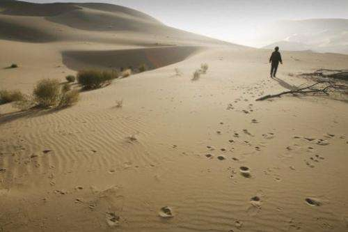 Ma Wangzhen walks in the desert that threatens to engulf her onion farm in China on October 25, 2007