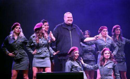Megaupload founder Kim Dotcom (C) at the launch of his new website at his mansion in Auckland on January 20, 2013