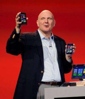 Microsoft  CEO Steve Ballmer appears on stage during a keynote address at the 2013 International CES,  January 7, 2013
