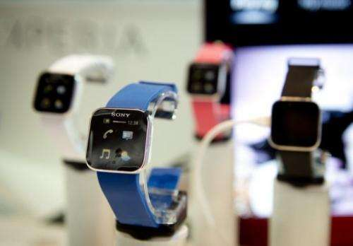 Mobile phone and media player wrist watches at the Sony booth in the IFA trade fair in Berlin on August 30, 2012