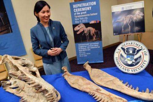 Mongolian Minister of Culture, Sport and Tourism Oyungerel Tsedevdamba poses with part of the skeleton