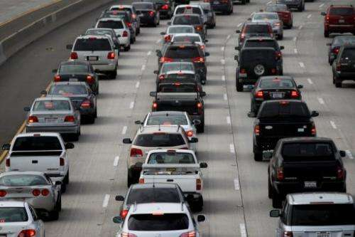 Morning traffic fills the SR2 freeway in Los Angeles, California, in this file picture from April, 2013