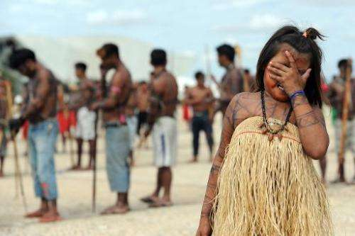 Munduruku indigenous people rally in front of  the Planalto Palace in Brasilia, on June 6, 2013, calling for a law under which t