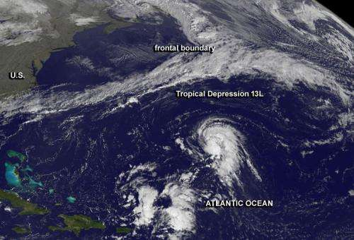 NASA animation shows birth of 13th Atlantic tropical depression