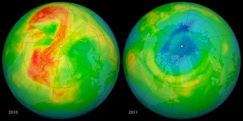 NASA pinpoints causes of 2011 Arctic ozone hole