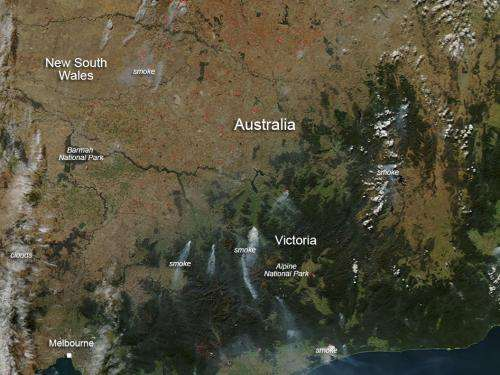 NASA sees controlled fires in Southern Australia