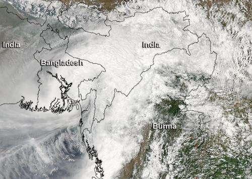 NASA sees heavy rainfall as Cyclone Mahasen made landfall