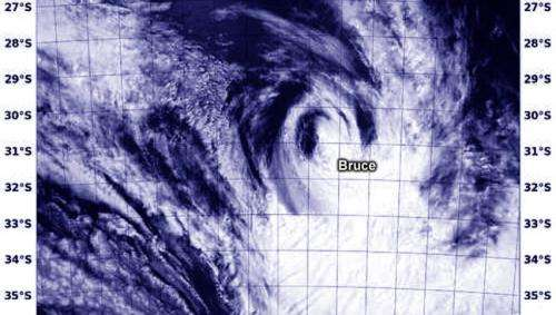 NASA sees the last of Cyclone Bruce in Southern Indian Ocean