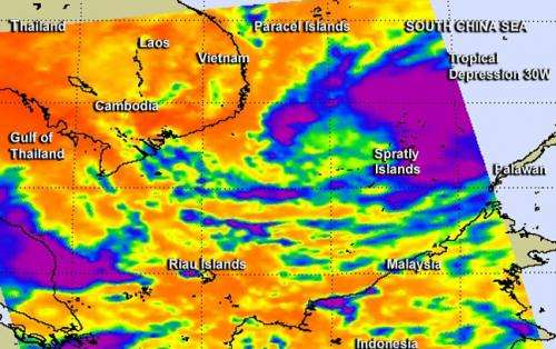 NASA sees warm sea surface helped strengthen Tropical Storm 30W