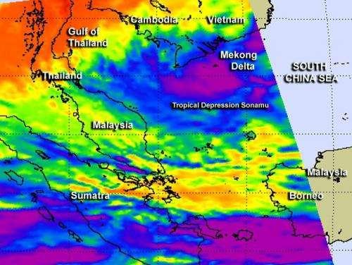 NASA watches a slow-moving Tropical Depression Sonamu