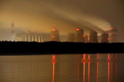 Night view of the Belchatow power plant on September 28, 2011