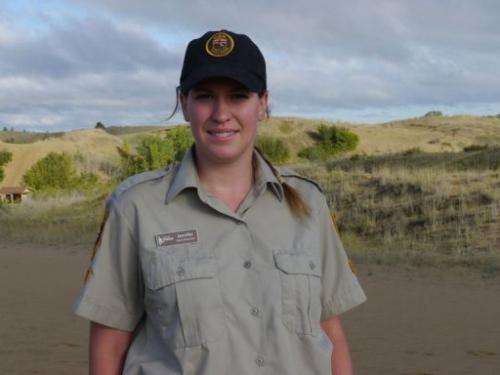 Park employee Jennifer Bryson is pictured on September 1, 2013 at Spirit Sands