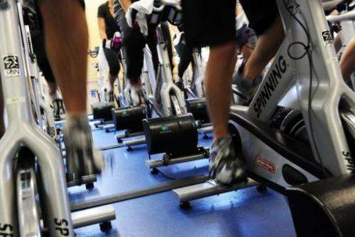 People in a spinning class on April 29, 2010 in New York