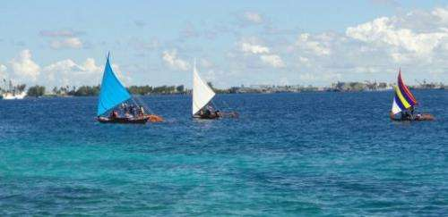 Photo taken August 29, 2013 shows the outrigger canoes to feature at the opening of the summit in Majuro