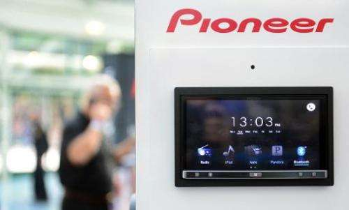 Pioneer's appRadio3 which can replace a car stereo is displayed on November 19, 2013 at the Los Angeles Auto Show