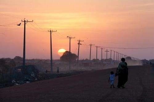 Power lines alongside a road in Abyei, Sudan, on January 15, 2011