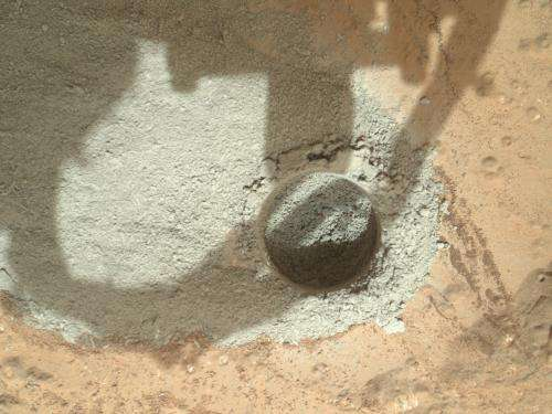 Preparatory drill test performed on Mars