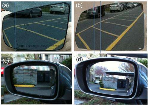Progressive optics for side mirrors ends automobile blind spots without distorting view