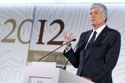 Publicis President Maurice Levy presents group results on February 14, 2013 in Paris