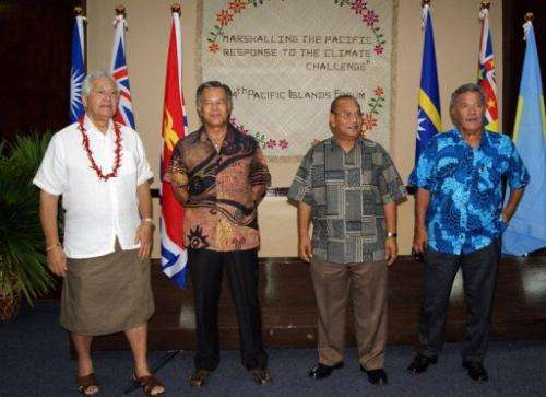 Regional leaders pictured at the opening of the 15-nation Pacific Islands Forum (PIF) in Majuro on September 3, 2013