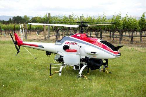 Remote-controlled helicopter tested for use in vineyards