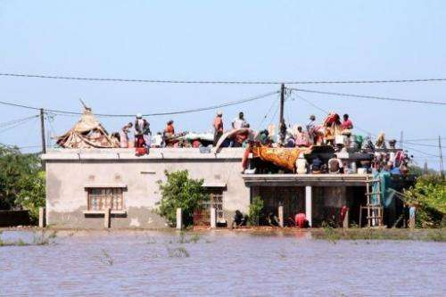 Residents flee to the roof of a house in Chokwe district, to escape the floods, on January 25, 2013