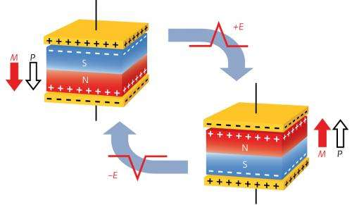 Reversal of magnetic moment by an electrical voltage in a single material could lead to new low-power electronic devices