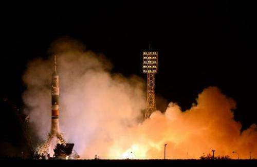 Russia's Soyuz TMA-10M spacecraft blasts off from the Kazakh Baikonur cosmodrome on on September 26, 2013