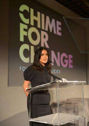 Salma Hayek Pinault speaks at the annual TED conference on February 28, 2013 in Long Beach, California