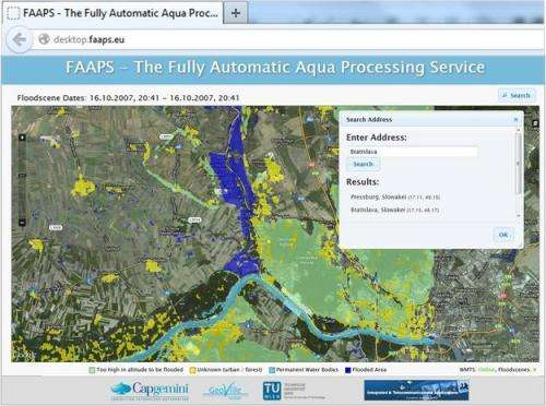 Satellite flood maps reach crisis teams via Internet