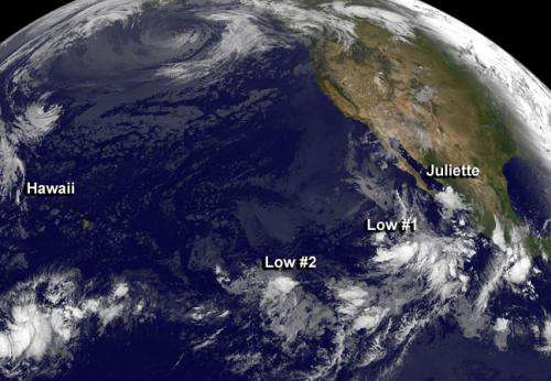 Satellite panorama of fizzling Juliette and 2 lows in Eastern Pacific