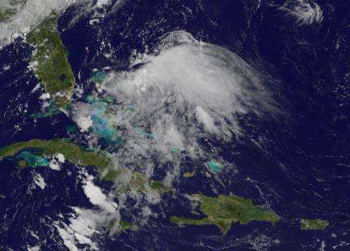 Satellite views Chantal's remnants over Bahamas
