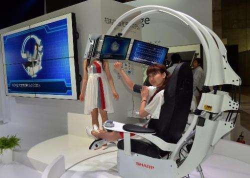 Sharp unveils the prototype of a new health care chair at the CEATEC trade show in Chiba on October 1, 2013