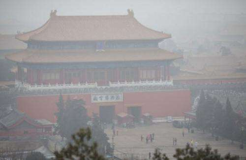Smog envelops the Forbidden City in Beijing on January 30, 2013